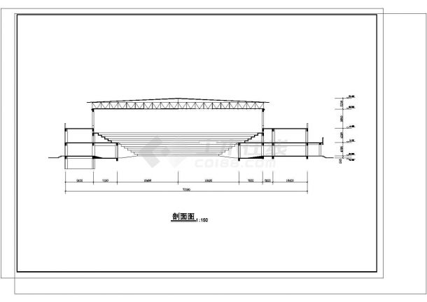 2层5800平米体育馆建筑方案设计图cad-图二