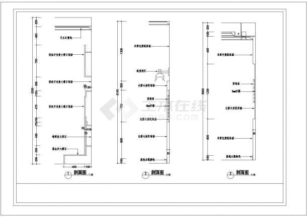 某地区三层别墅楼室内装修设计cad施工图纸-图二