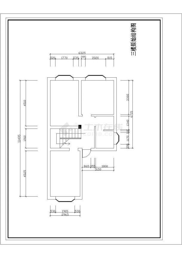 某地区三层小型别墅室内装修设计平面cad图-图二