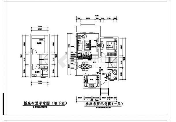某校别墅装饰施工图全套设计图纸-图一