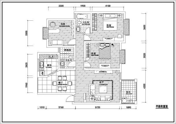 常德市某新建小区100平米户型装修施工设计CAD图纸-图一