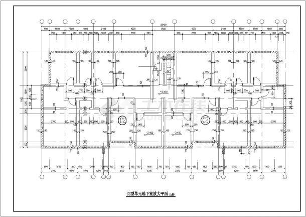 4900平米7层框架结构住宅楼平面设计CAD图纸(含地下室和跃层)-图一