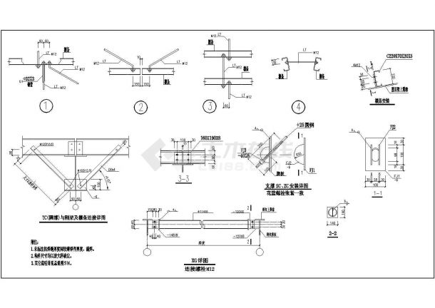 某地钢结构厂房施工设计图纸-图一