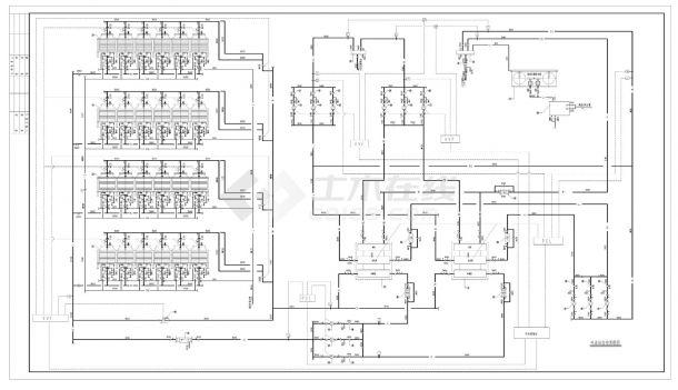 二台溴化锂直燃机组全套机房设计图纸CAD施工图-图一