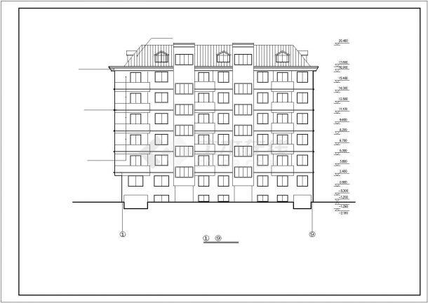 4000平米6+1层砖混结构住宅楼建筑设计CAD图纸(含半地下室层)-图二