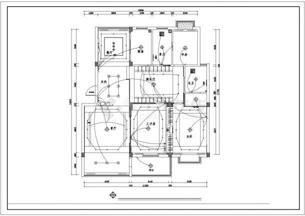 南阳市南岸花园小区120平米户型全套装修设计CAD图纸-图一