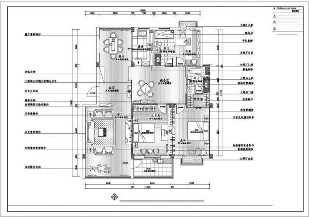 南阳市南岸花园小区120平米户型全套装修设计CAD图纸-图二