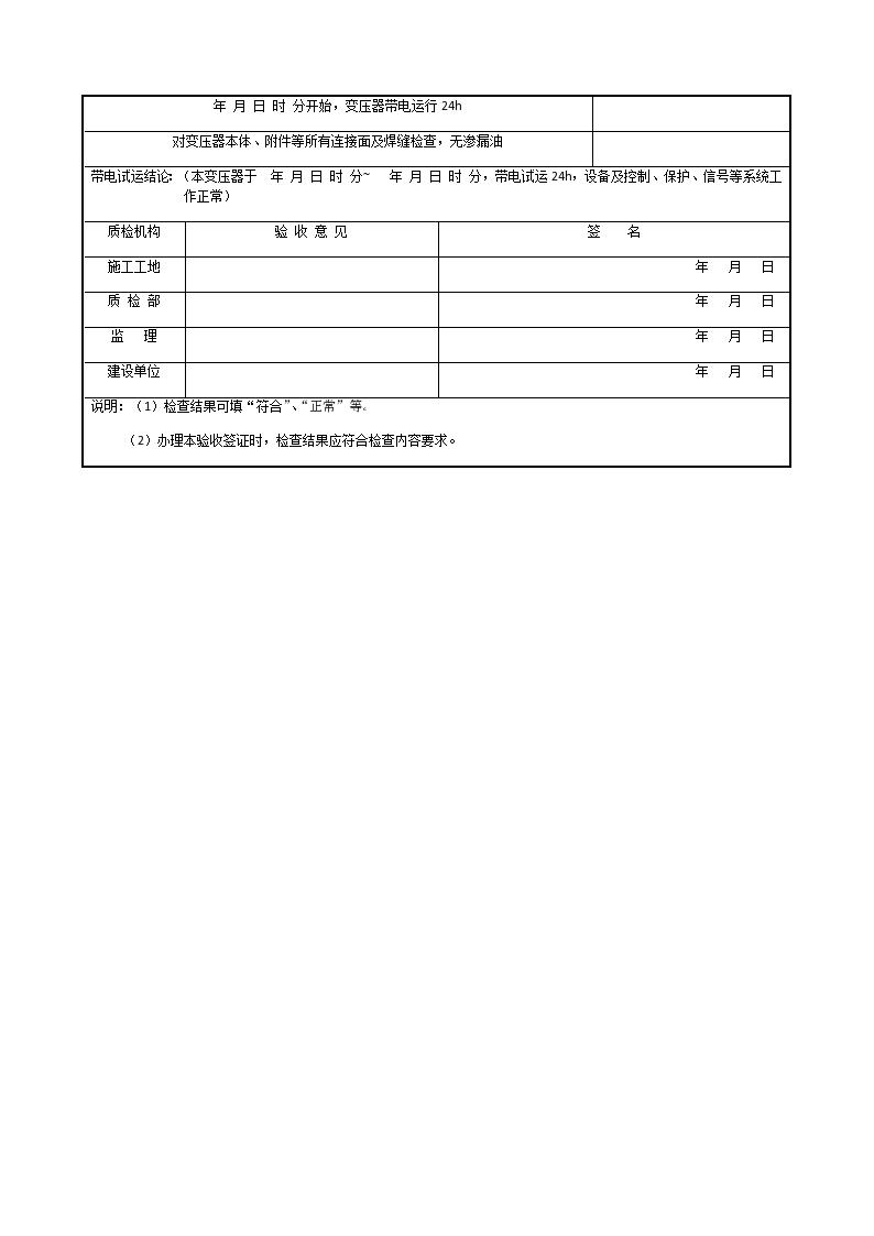 变压器名称编号变压器带电试运签证-图二