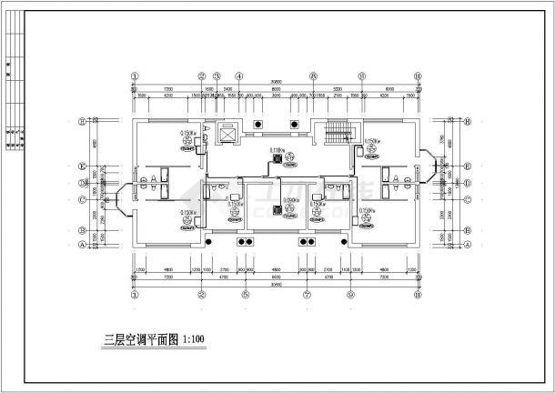 郑州某小区6层住宅变频多联中央空调系统设计CAD图纸(含地下室)-图一