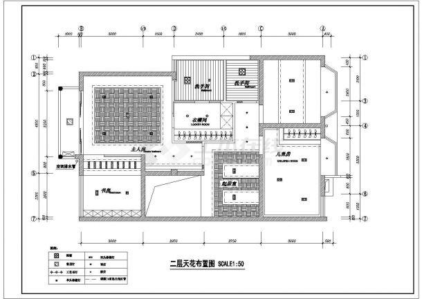 某地二层别墅室内装修设计图纸-图二