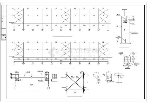 某开发区工厂钢结构设计方案CAD图纸-图二
