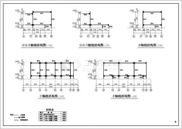 某售楼部钢结构设计方案CAD图纸-图一