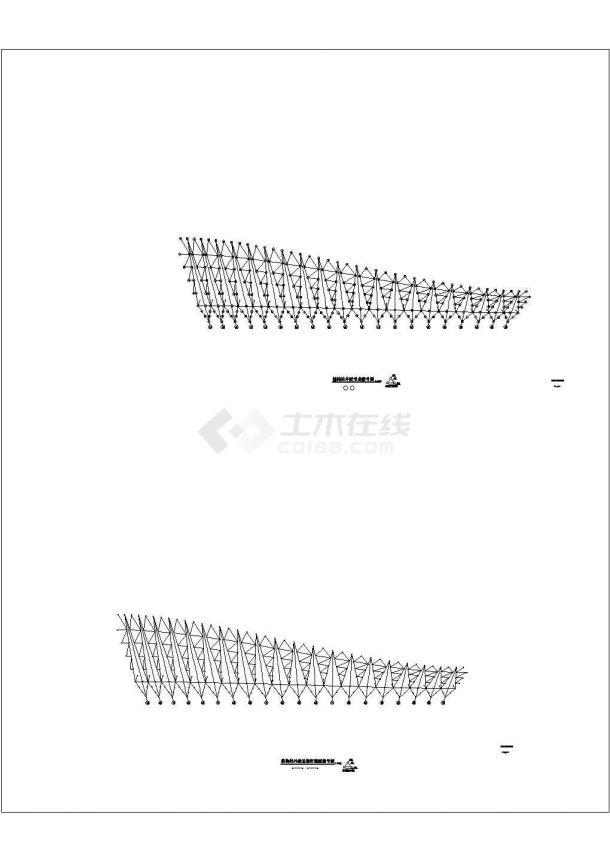 某钢结构体育场屋盖设计方案CAD图纸-图一
