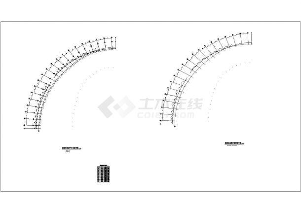 某钢结构体育场屋盖设计方案CAD图纸-图二