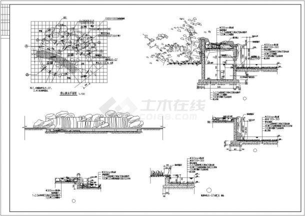 某小区假山置石CAD景观设计施工图-图二
