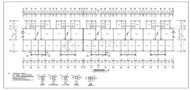 某住宅楼阁楼层砖混住宅楼结构施工图CAD规划详图-图一