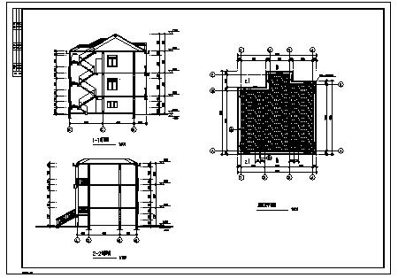 某三层砖混结构新农村别墅建筑施工cad图_别墅施工-图二