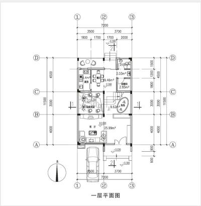 某三层框架结构简洁大方型联排式住宅楼全套施工cad图,含效果图-图一
