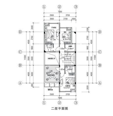 某三层框架结构简洁大方型联排式住宅楼全套施工cad图,含效果图-图二