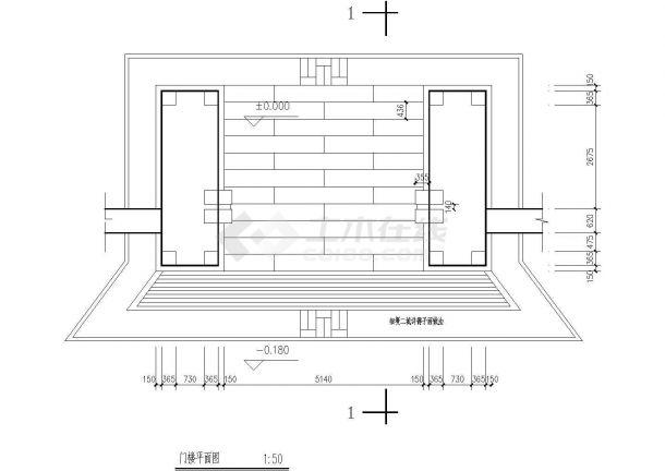 某地经典古建大门全套结构施工图纸-图一