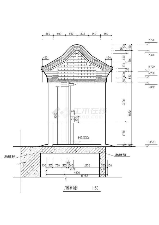 某地经典古建大门全套结构施工图纸-图二