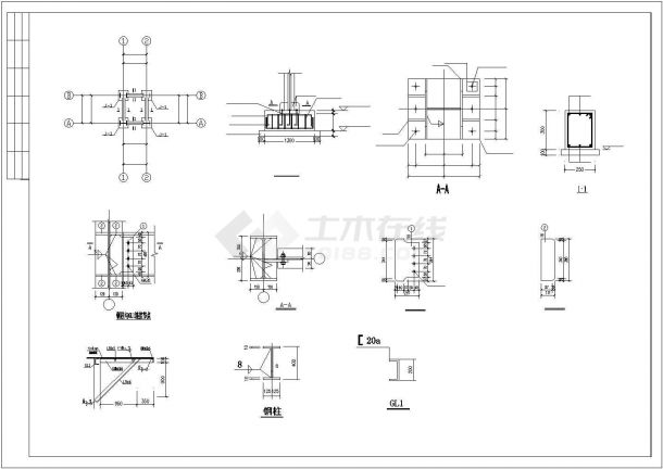 室外住宅钢结构楼梯施工设计CAD图-图二