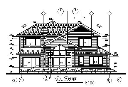 某二层砖混结构坡屋顶农村别墅建筑施工cad图_别墅施工-图二
