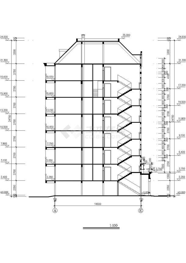 太原市某小区7层砖混结构住宅楼建筑设计CAD图纸(7层为复式/含架空层)-图一