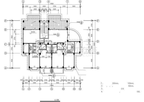 衢州市某小区六层砖混住宅楼建筑设计CAD图纸-图二