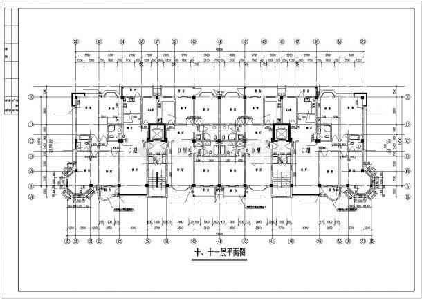 南京市万御家园小区两栋11层联排式框架结构商住楼全套建筑设计CAD图纸-图二