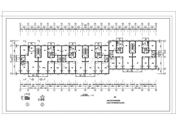 某市大型小区多层住宅楼建筑施工图纸-图二