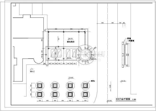 某地大型小区钢结构大门设计图纸-图一