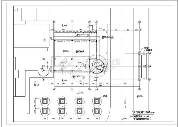 某地大型小区钢结构大门设计图纸-图二