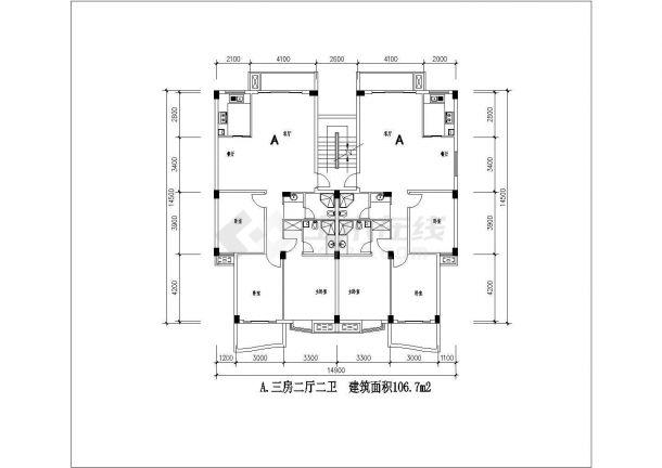 某地多套小型住宅楼建筑设计图纸-图一