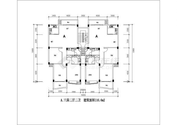 某地多套小型住宅楼建筑设计图纸-图二
