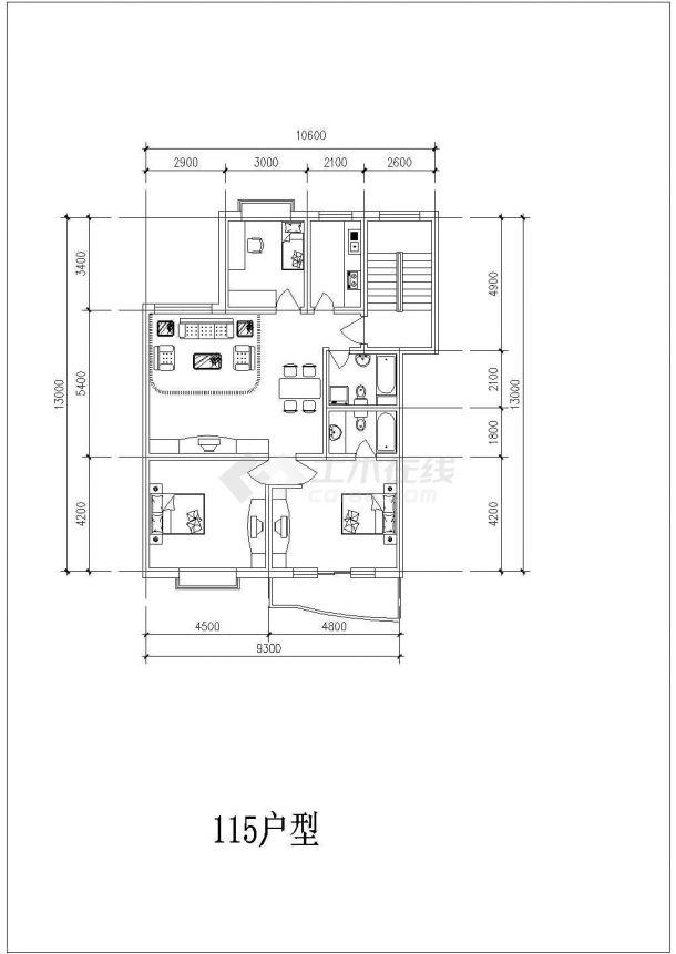 某地多层精美住宅户型结构设计图纸-图一