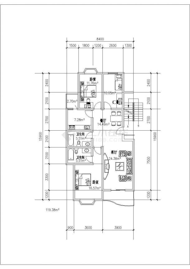 某地多层精美住宅户型结构设计图纸-图二