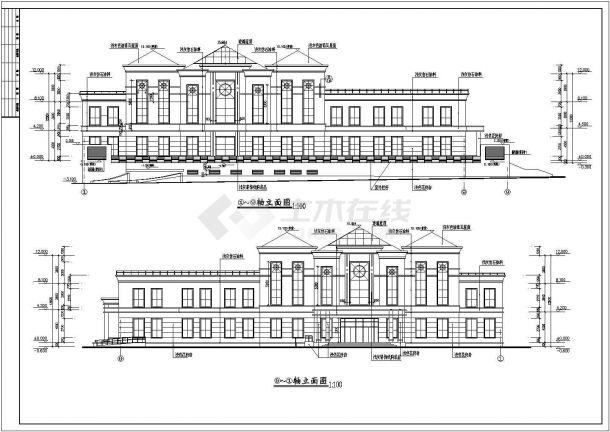 某地豪华小区会所建筑设计图纸-图二