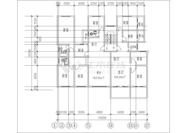 某地多种一梯户型结构设计图纸-图二