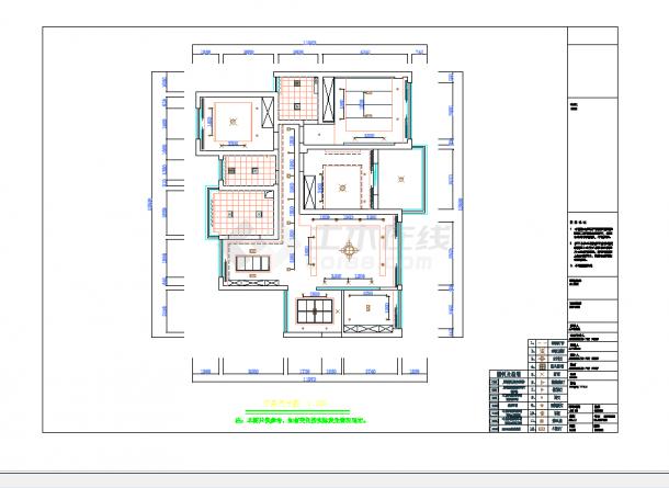 某地单层现代四居室设计施工图纸含实景-图一