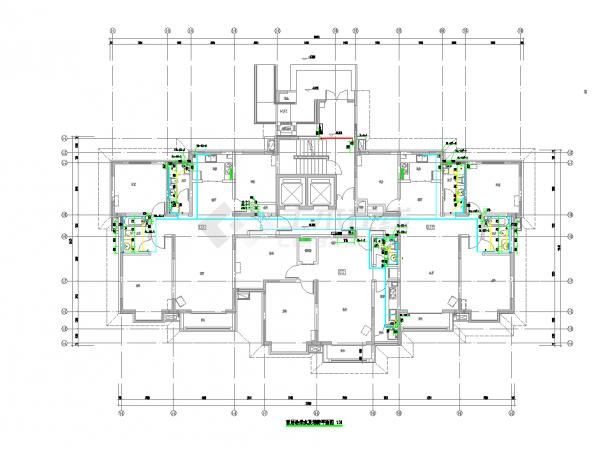 某居住楼1号给排水施工图(楼高18层)-图二