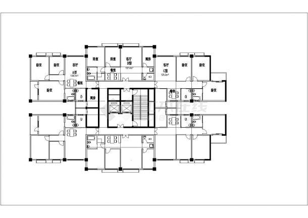 某地904.5平方米住宅户型结构设计图纸-图一