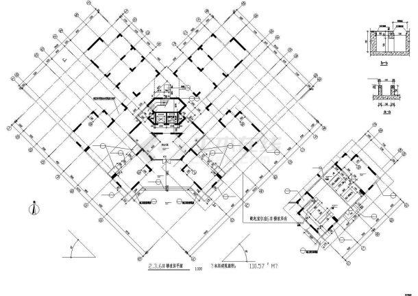某地多层塔室住宅楼建筑设计图纸-图二