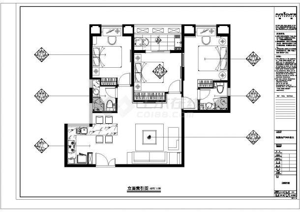 凯隆地产样板房现代风格全套施工设计cad图纸(含效果图)-图一