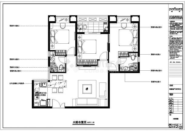 凯隆地产样板房现代风格全套施工设计cad图纸(含效果图)-图二