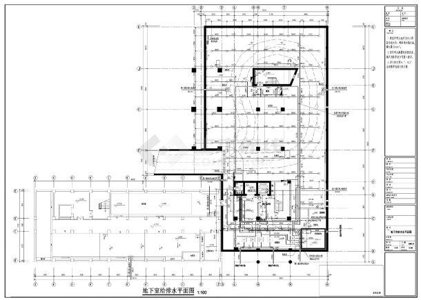 某高层办公楼给排水施工CAD图纸-图一