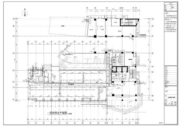 某高层办公楼给排水施工CAD图纸-图二