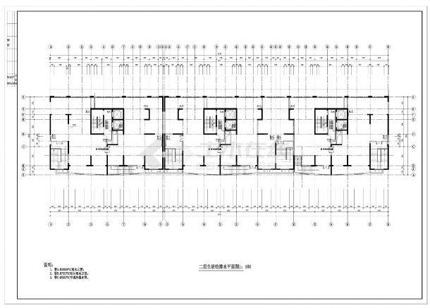 江苏某十六层住宅给排水消防施工CAD图纸-图二