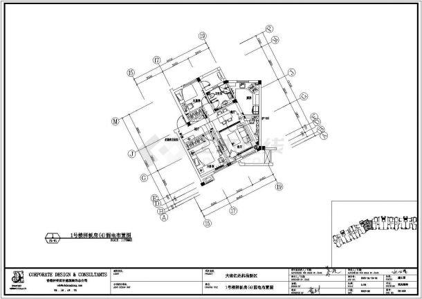 大连某地高档小区样板间施工全套设计cad图-图一