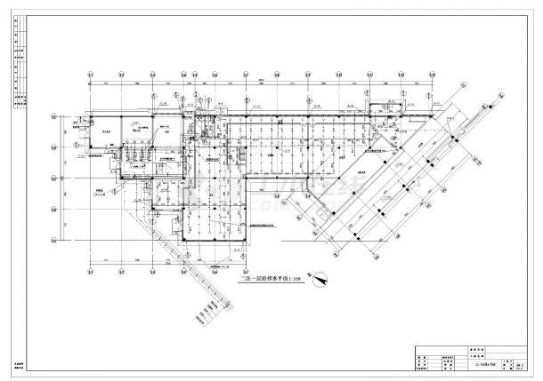某人力中心办公楼给排水施工CAD图纸-图一